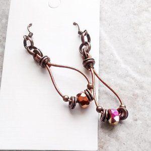Leather + Flashy Stone Beaded Boho Dangle Earrings